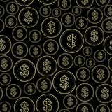 Black background with dollars - vector seamless pattern Royalty Free Stock Photography