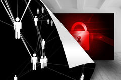 Black background with figures over picture of red lock Royalty Free Stock Photography