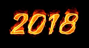 On Black Background 2018 Fire Number/. Happy New Year 2018 with flaming fire burn and the black background isolated Stock Photography