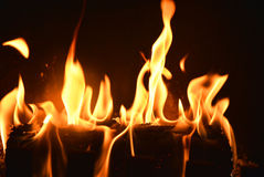 Black background with Fire place and moving flames Royalty Free Stock Photos