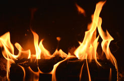 Black background with Fire place and moving flames Royalty Free Stock Image