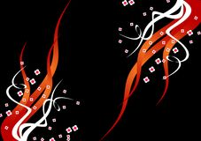 Black background with flames and flowers Royalty Free Stock Photo