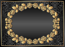 Black background. With floral /frame Royalty Free Stock Photos
