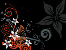 Black background with floral pattern Royalty Free Stock Image