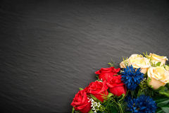 Black background with flowers Royalty Free Stock Image