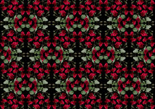 Black background from garlands of red roses Stock Photo