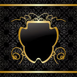 Black vector background with gold decorations - vintage Stock Photography