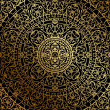 Black background with gold oriental ornament Royalty Free Stock Photos