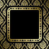 Black background with gold ornament and frame Stock Photos