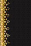 Black background with gold pattern lateral. Royalty Free Stock Photos