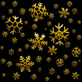 Black background with gold stars Royalty Free Stock Photos