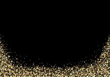 Black Background with Gold Stars. Luxury Background with Gold Stars Sparklers - Glittering Illustration, Vector Royalty Free Illustration