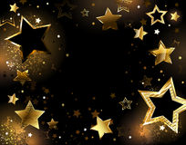 Black background with gold stars. Black background with shiny gold stars Royalty Free Stock Photo