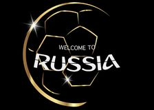 Black background with golden ball and text : welcome to Russia. Russia 2018 Fifa World Cup Background. icon golden abstract Football cup trophy Royalty Free Stock Image