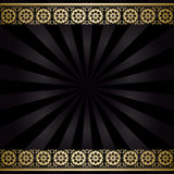Black vector background with golden decorations and rays Stock Photos