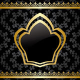 Black vector background with golden heraldic frame Stock Photo
