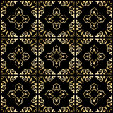Black vector background with golden ornament - seamless Royalty Free Stock Photography