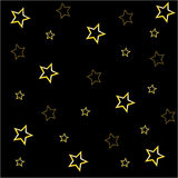 Black background with golden stars Royalty Free Stock Images