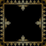 Black vector background with golden victorian ornament Stock Image