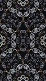 Black background with a gray floral pattern Royalty Free Stock Images