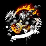 Black background with a guitar. Raster version of vector black background with a guitar Royalty Free Stock Images