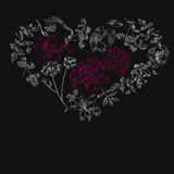 Black background with heart Stock Photography