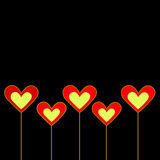 Black background with hearts. Black background with red and yellow hearts Stock Illustration