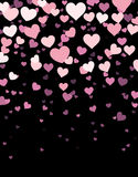 Black background with hearts. Black background with pink hearts. Vector paper illustration Royalty Free Stock Image