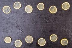 Black background with lemon circles Stock Image