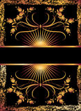 Black background with luxurious golden ornament. Stock Photos