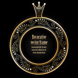 Black background with luxury gold vintage frame wi. Th crown for sample text or your photo. Royal design for princess, glamour girl and woman. Vector Royalty Free Stock Images