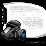 Black  background with modern DSLR camera for brochure Stock Photo