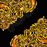 Black background orange yellow banner pattern Stock Photo
