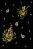 Black background pattern. Fabric print design Royalty Free Stock Photos