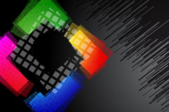 Black background with rainbow colored shape