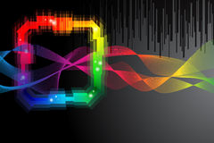 Black background with rainbow colored shape Stock Photos