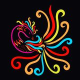 Black background with a rainbow graceful bird.  royalty free illustration