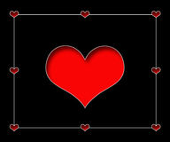Black Background with Red Hearts Cut-out Stock Photo