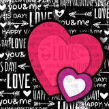Black background with  red valentine heart and wis. Hes text,  vector illustration Stock Photo