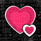 Black background with  red valentine heart and wis Royalty Free Stock Photo