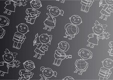 Black background with school children Royalty Free Stock Photography