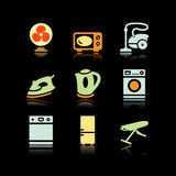 Black background set 18. Vector icons set for internet, website, guides Stock Image