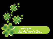 Black background with shamrock 17 march Stock Photos
