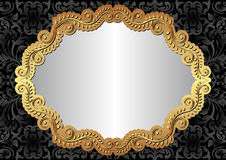 Black background. Silver black background with golden frame Royalty Free Stock Images