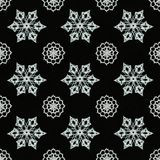 Black background with snowflakes. Black background with different knitted snowflakes stock photos