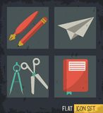 Black background squares set with paper plane pencil scissor compass and notebook. Vector illustration Stock Image