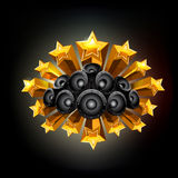 Black background with stars and speakers. Royalty Free Stock Photos