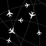 Airplanes with tracks. Black background with stroke lines and airplanes vector illustration