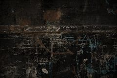 Cool dark background texture. Black background strongly scratched and shabby multi-colored with rust texture. Grunge background old metal painted surface with stock illustration