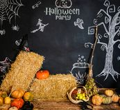 Black background with text and pictures for the celebration of Halloween.  royalty free stock photo